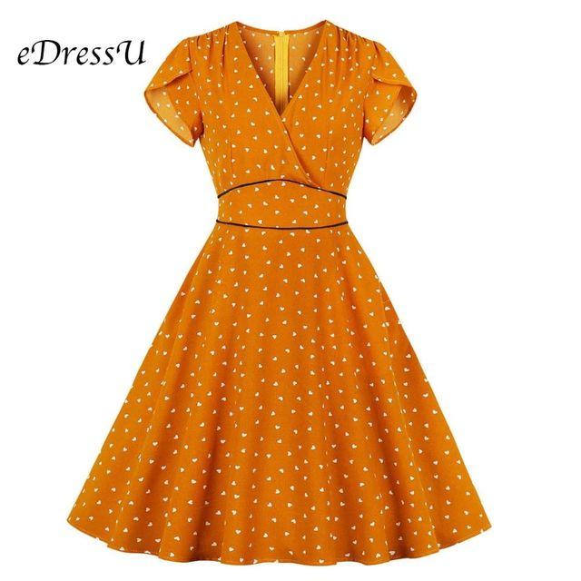 [해외] 1950 년대 빈티지 드레스 2019 우아한 오렌지 여름 드