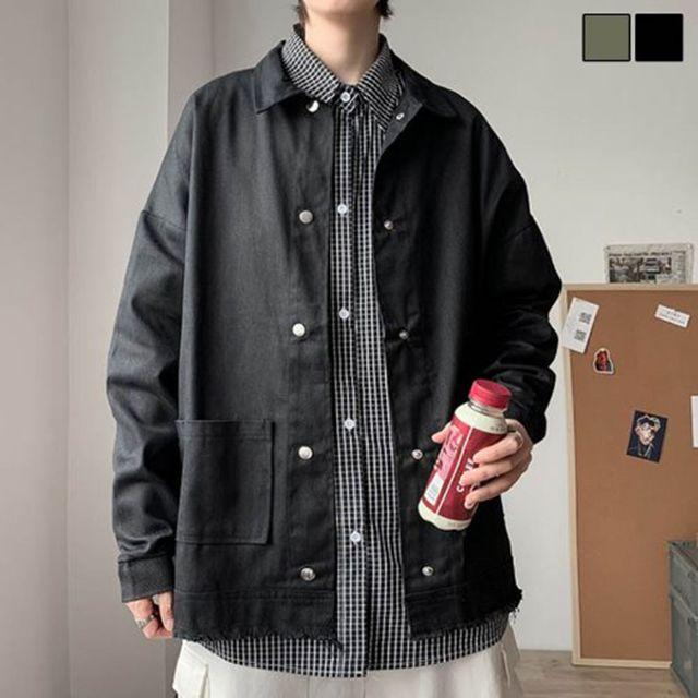 W 빅포켓 남자 셔츠겸 자켓 가벼운 외출 패션 코디