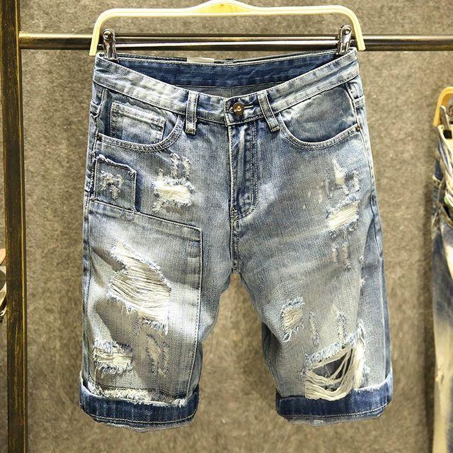 [해외] 남성 청바지 긴바지 5 점 얇은 바지