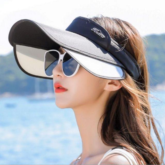 W 우먼스 슬라이드 챙넓은 썬캡 여성 여름 모자