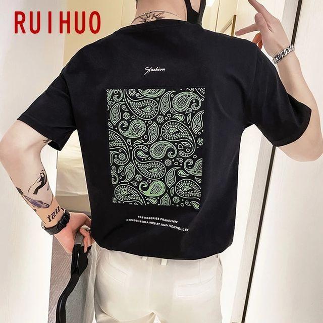 [해외] RUIHUO 남성 의류 캐주얼 T 셔츠 남성용 재미 T 셔츠