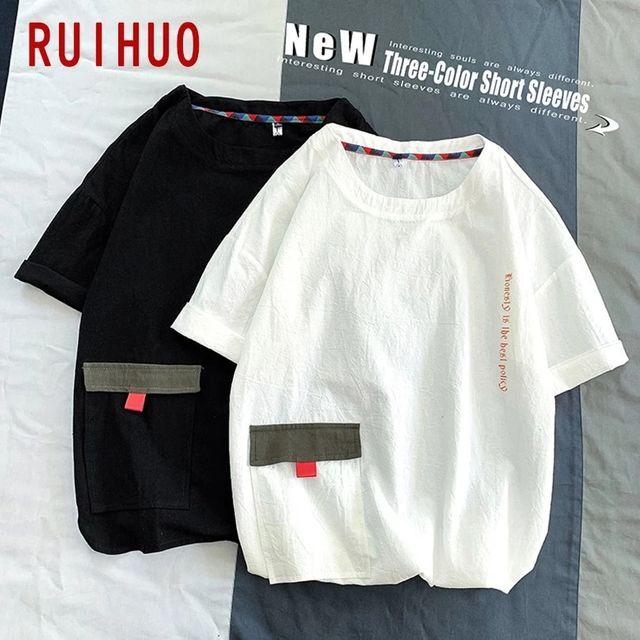 [해외] RUIHUO 포켓 반팔 남성 T-셔츠 패션 Streetwear Tshir
