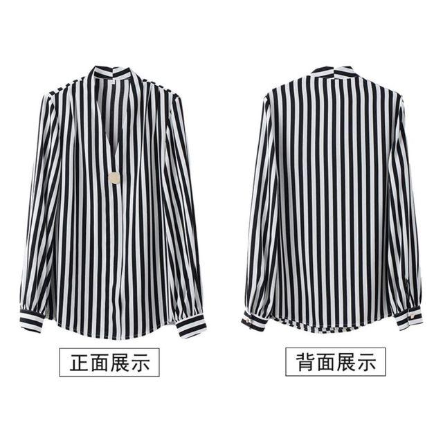 [해외] 직업여성 V형 카라넥 셔츠 쉬폰 블라우스 정장셔츠