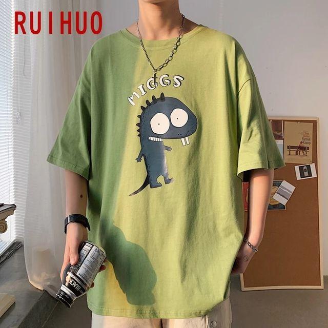 [해외] RUIHUO 캐주얼 티셔츠 남성 의류 남성 티셔츠 패션 여
