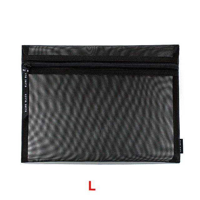납작 메쉬 사각파우치(L)-블랙 [제작 대량 도매 로고 인쇄 레이저 마킹 각인 나염 실크 uv 포장 공장 문의는 네이뽕]