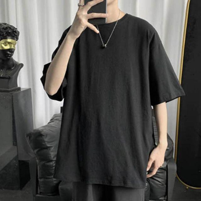 W 남자 기본 스타일 오버핏 라운드넥 반팔 티셔츠