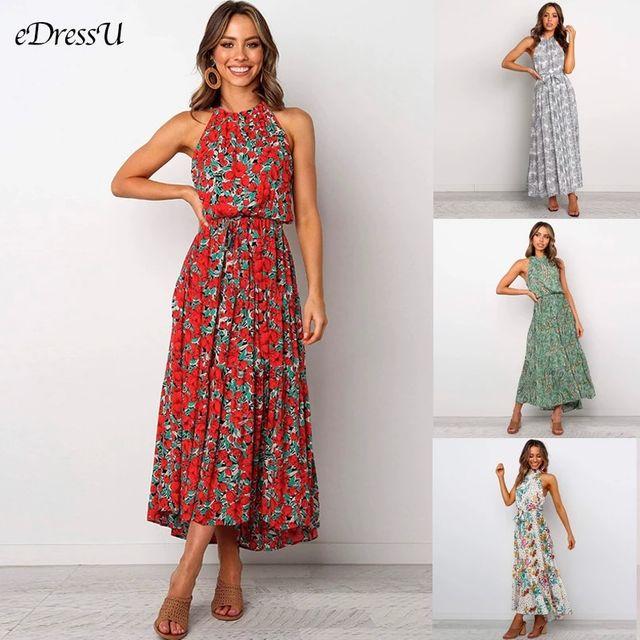 [해외] 새로운 여성 꽃 드레스 홀터 여름 드레스 인쇄 긴 맥
