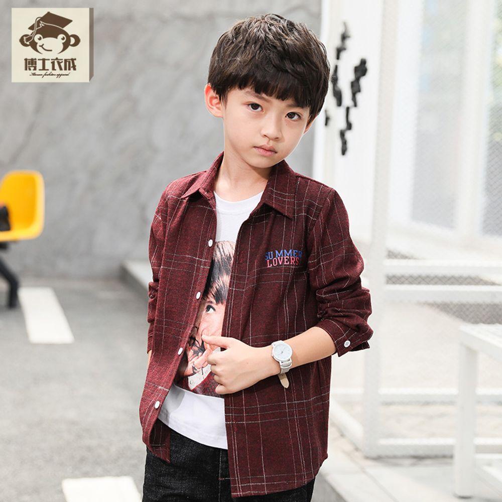 8ef1a1dee6e [더산직구]소년 긴팔셔츠 가을아동복 캐주얼 체크셔츠 남아남방/ 영업일