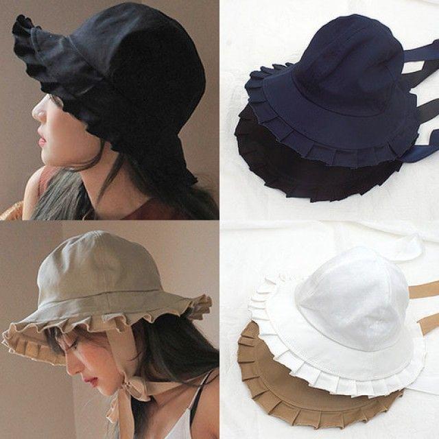 플레어 코튼 버킷햇(S838-리본끈)모자 벙거지