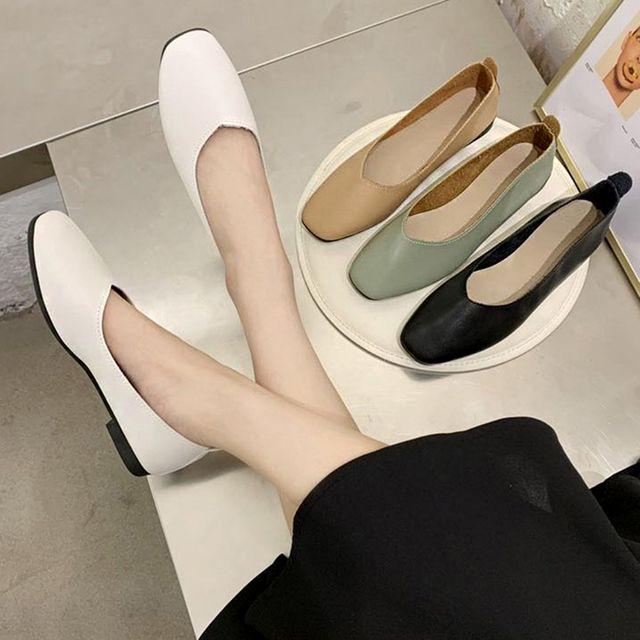 W 무지 디자인 깔끔한 여자 낮은 구두 편한 플랫슈즈