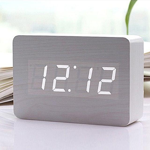 [더산쇼핑]ZEN 알람시계 소리에 반응하는 우드블럭 스타일 백색 LED라이트 알람시계 탁상시계 알람시계 고급시계 시계