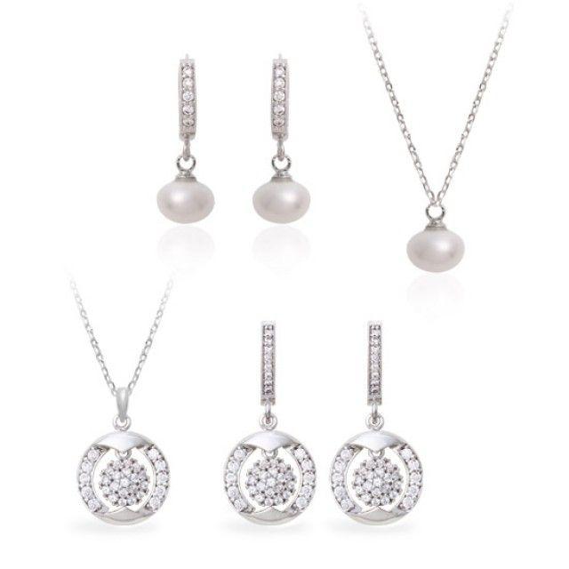 韩国直邮 92.5室的珍珠项链耳环套装MS SET