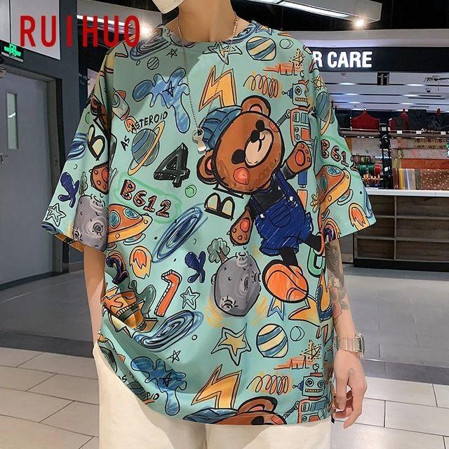 [해외] RUIHUO 만화 캐주얼 하라주쿠 T 셔츠 남성 의류 T 셔