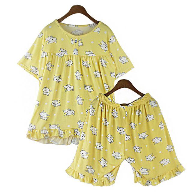 W 레이스 스판 소재 여성 여름용 반팔 잠옷 세트 홈웨어