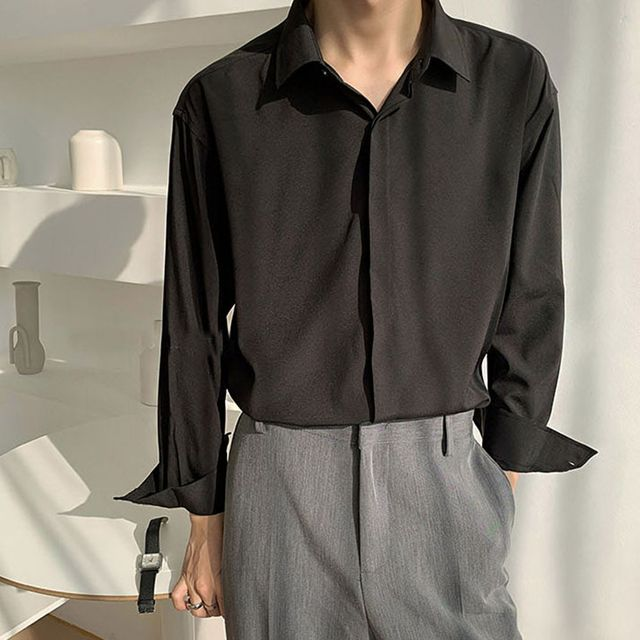 W 직장인 남자 세미 정장 코디 스타일 베이직 기본 셔츠