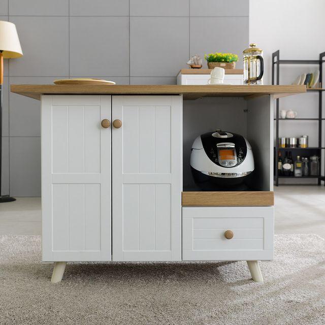 수납식탁 에우크 우드화이트 주방수납장 홈바테이블