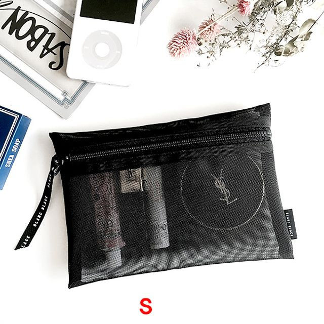 납작 메쉬 사각파우치(S)-블랙 [제작 대량 도매 로고 인쇄 레이저 마킹 각인 나염 실크 uv 포장 공장 문의는 네이뽕]