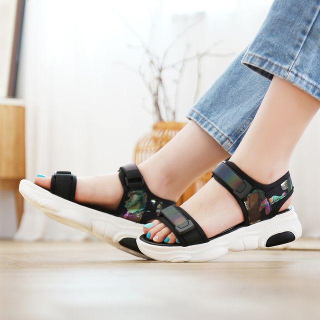 여성 카모플라쥬 키높이 샌들 스트랩샌들 스포츠 신발