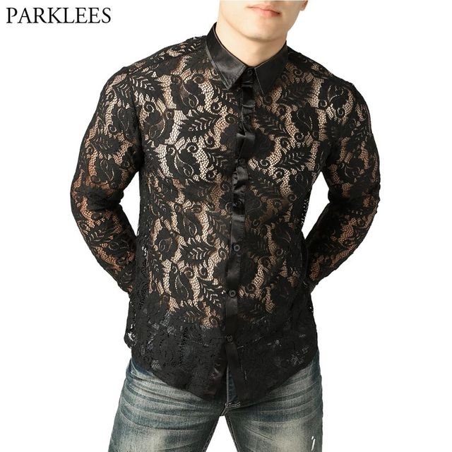 [해외] 남성 나이트 클럽 스타일 레이스 잎 셔츠 남성 슬림