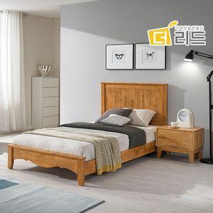 럭키 고무나무원목 침대프레임SS+협탁