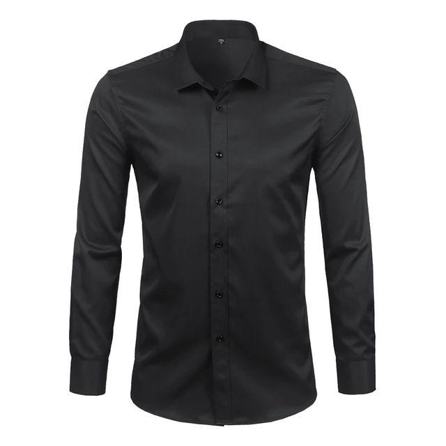 [해외] 블랙 망 대나무 섬유 셔츠 2018 브랜드 뉴 캐주얼 슬