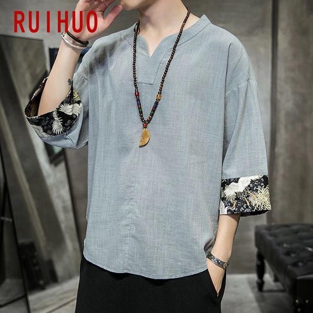 [해외] RUIHUO 크레인 빈티지 티셔츠 남성 의류 블랙 티셔츠