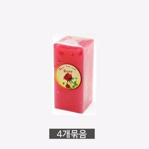 사각 아로마 향초 중(11cm) 방향제 캔들-색상랜덤 4개