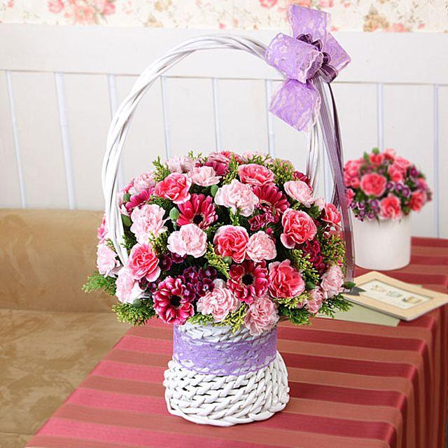 사랑의 꽃바구니-중급 카네이션 3시간배송 전국 꽃배달 고백 결혼 기념일 감사선물