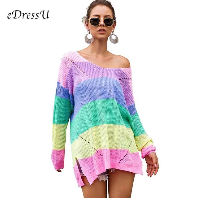 [해외] 가을 여성 스웨터 레인보우 풀오버 오버 사이즈 스트