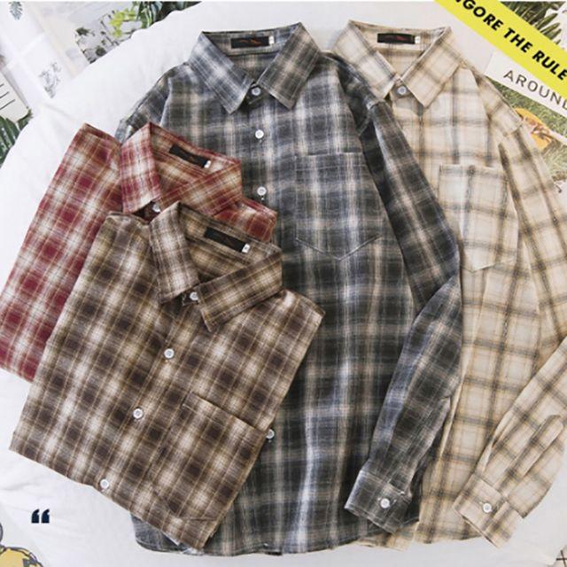 W 남성 오버핏 체크 무늬 데일리 패션 남방 셔츠