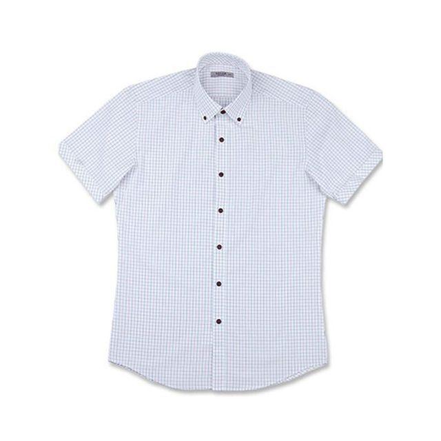 투톤체크 흰색 하얀색 화이트 반팔 슬림셔츠