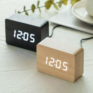 우드 LED 날짜 온도 스마트 미니 탁상 용 테이블 시계
