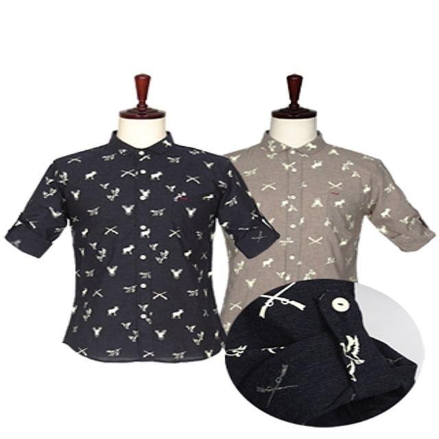 W 애니멀 프린팅 7부 롤업 셔츠 남성의류 남성셔츠
