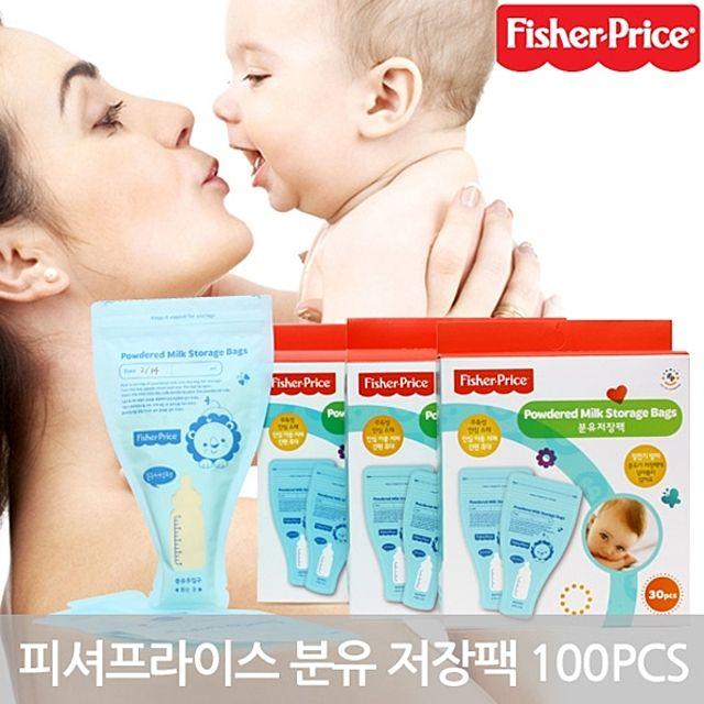피셔프라이스 분유 저장팩 100매 모유 수유 일회용 유아 어린이 아동 아기