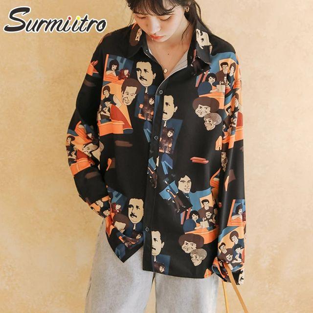 [해외] SURMIITRO Avata 인쇄 셔츠 여성 2021 패션 봄 가을