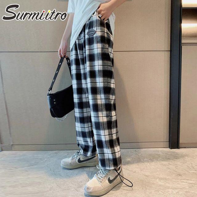 [해외] SURMIITRO 한국어 스타일 격자 무늬 긴 바지 바지 여