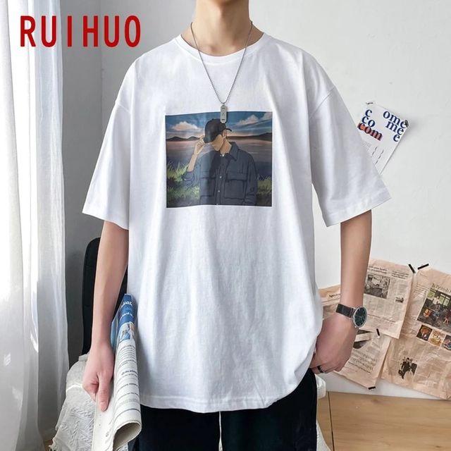 [해외] RUIHUO 코튼 반팔 남성 T-셔츠 패션 Streetwear 힙합