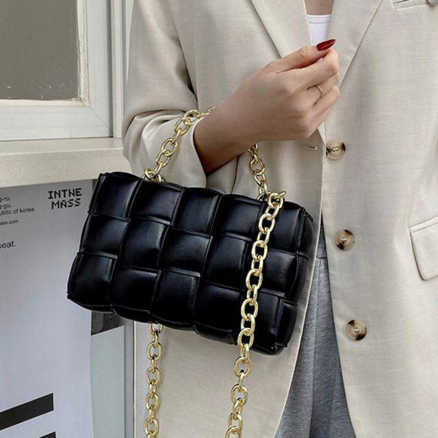 W 여성 고급 사각 패턴 디자인 체인 줄 여자 외출 가방