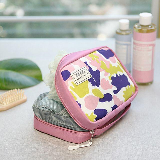 카모플라주 패턴 워시파우치-핑크 [제작 대량 도매 로고 인쇄 레이저 마킹 각인 나염 실크 uv 포장 공장 문의는 네이뽕]