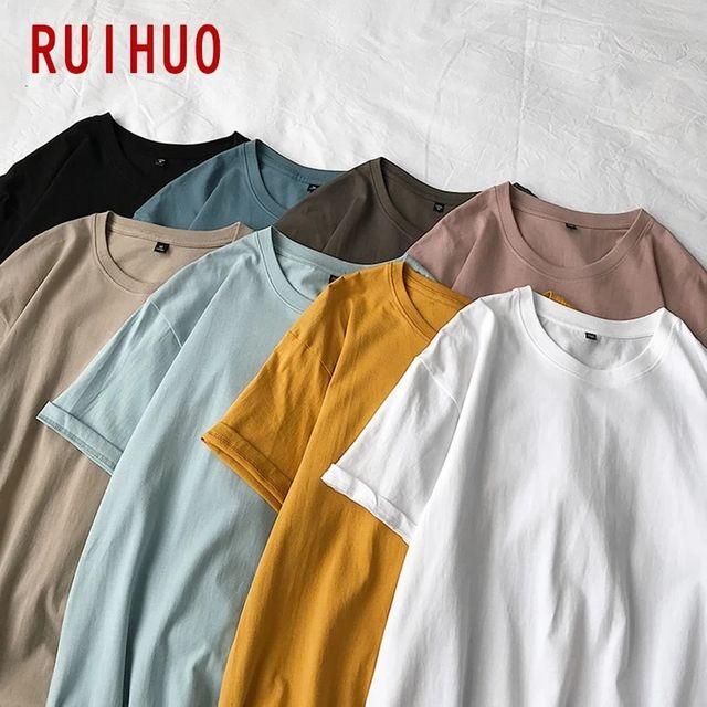 [해외] RUIHUO 단색 빈티지 T 셔츠 남성용 탑스 하라주쿠 웃