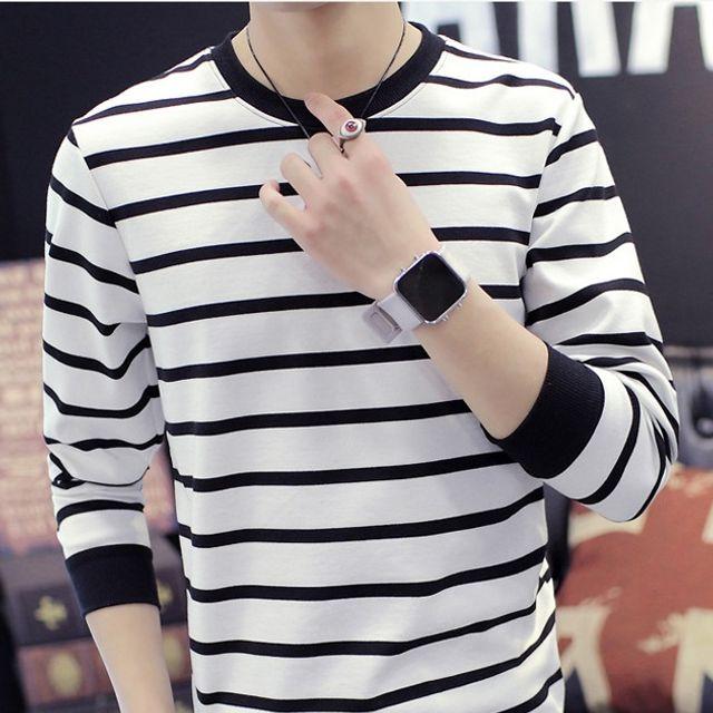 W 남성 줄무늬 티셔츠 트렌드 캐쥬얼 포인트
