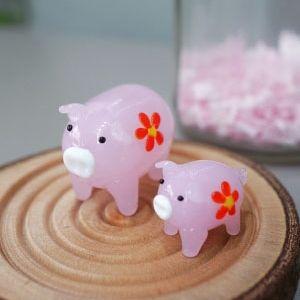 유리 핑크 돼지 2종