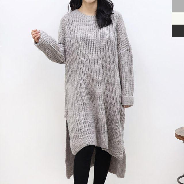JYD 2138-1 여자롱옆트임니트티셔츠
