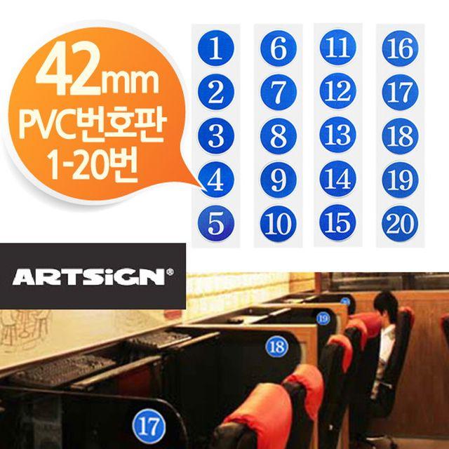 W PVC 42mm 원형 번호판 5개 1-20번중선택