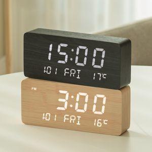 날짜 요일 온도 알람 LED 우드 예쁜 탁상 책상 시계