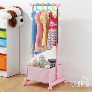 어린이 수납행거-핑크컬러 고정이동식행거 튼튼한스텐봉 편리한수납공간