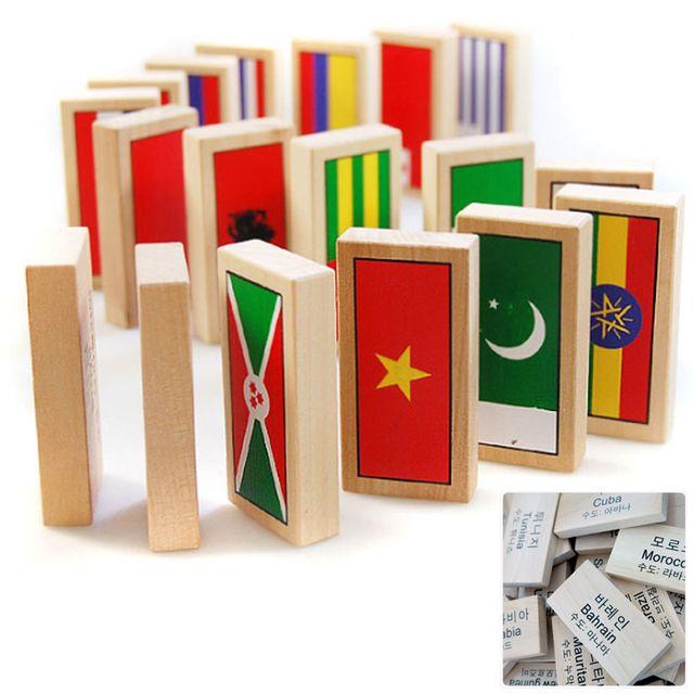 만국기 도미노 원목 세계 국기 블록 쌓기 교구 100P