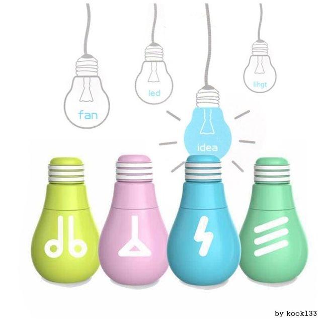 우유니 정품 전구모양 미니 휴대용선풍기 핸드선풍기