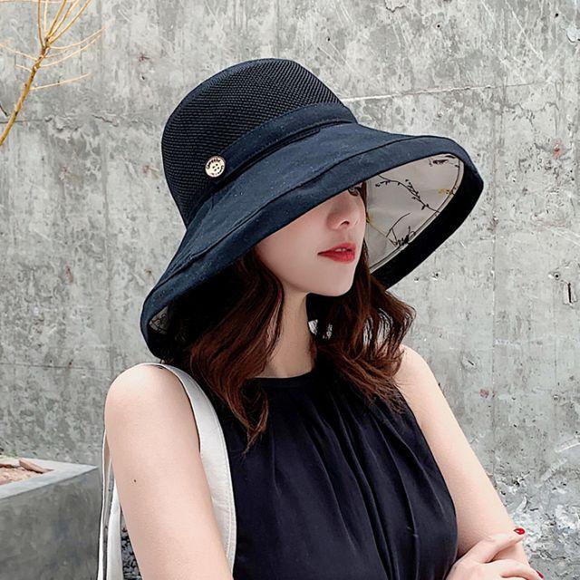 W 여성 버킷햇 양면 벙거지 여름 챙넓은 모자