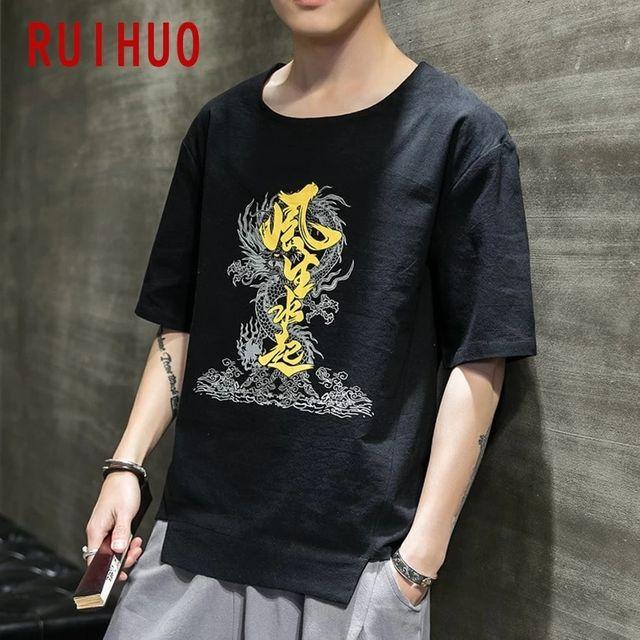 [해외] RUIHUO 중국 요소 빈티지 티셔츠 남성 의류 티셔츠 남